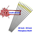 Youth Fiberglass Arrows Archery Recurve Bows Practise Shooting 26-30 inch Shafts