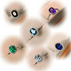 Classy and Gorgeous Purple Green Blue Topaz Wedding Ring 925 Silver Jewelry Gift image