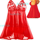 Sexy-Lingerie-Set-Sleepwear-Women-Dress-Lace-Babydoll-Costume-Christmas Red Gift