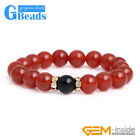 Natural Gemstone 10mm Red Agate Round Beads Beaded Stretch Healing Bracelect 7""