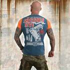 Neues Yakuza Herren Aggressive Two Face T-Shirt - Mallard Blue Moonwashed