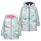 Girls Holographic Iridescent Shiny Silver Raincoat Hooded Jacket Baby Girl Coat