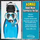 MIRAGE Nomad Silicone Mask Snorkel Fins Set Blue Green Snorkeling Swimming