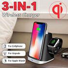 3in1 Qi Wireless Charger Dock Station Stand For Mobile Phone Airpods Apple Watch
