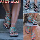 Women Ladies Summer Beach Boho Sandals Flat Elastic Strap Flip Flop Shoes  32