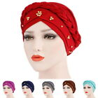 Muslim Women Elastic Turban Hat Pearl Beaded Bonnet Cancer Chemo Caps Headwear