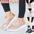 Womens Casual Walking Lightweight Gym Clitter  Slip On Sequin Flat Shoes