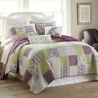 FARMHOUSE COUNTRY PRIMITIVE FORGET ME NOT PURPLE QUILTED BEDDING COLLECTION image