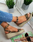 Womens Platform Sandals Espadrille Ankle Strap Comfy Summer Shoes UK Size 3-8