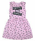 Girls Summer Dress Kids New Skater Dress Cotton Pink Black Age 2 3 4 5 6 7 8 Yrs