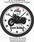 2019 INDIAN SCOUT BOBBER MOTORCYCLE WALL CLOCK-HARLEY DAVIDSON, BMW, TRIUMPH $28.99 USD on eBay