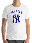 New York YANKEES WHITE T-Shirt NAVY Graphic Cotton Men Adult Logo Jersey S-2XL on Ebay