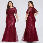 Ever-pretty US Sequins Pageant Long Mermaid Evening Dresses Plus Size Ball Gowns
