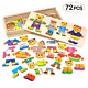 Lewo 72 Pieces Wooden Puzzle Toys for Boys Girls Bear Family Dress Up Puzzle