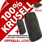 Krusell Uppsala L Long Black Eco Canvas Mobile Pouch Case Cover Sleeve Slim