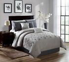 Chezmoi Collection 7-Piece Gray White Embroidered Floral Scroll Comforter Set image