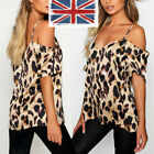 UK Women's  Off Shoulder Leopard Print Loose Top T-Shirt Casual Strappy Blouse