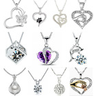 925 Silver Heart Cute Pendant Women Flower Charm Chain Necklace Jewelry Gift New