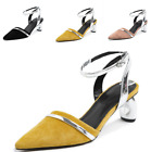 Women Pointed Toe Slingbacks Sandals Party Ankle Strap Block Mid Heel Pump Shoes