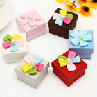 Square Ribbon Pearl Decor Jewelry Gift Box Necklace Earring Ring Box Case
