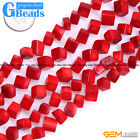 """7mm-11mm Square Cubic  Red Coral Loose Gemstone Beads For Jewelry Making 15"""" DIY"""
