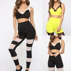Womens Sport Bra Yoga Workout Tracksuit Fitness Gym Tank Top+Mesh Leggings Set