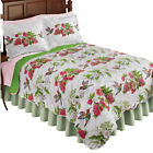 Reversible Hummingbird Flower Print Quilt with Scalloped Edges - Seasonal Décor image