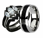 His Hers 4 Piece Wedding Ring Set AAA CZ Black IP Stainless Steel & Titanium LM