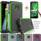 For Motorola Moto G6 XT1925 Shockproof Rubber Hard Case+Tempered Glass Protector