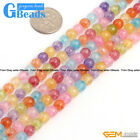 6mm Round Gemstone Dyed Mixed Crackle Rock Quartz DIY Jewelry Making Beads 15""