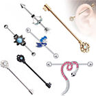14G Surgical Steel Gem Industrial Bar Scaffold Ear Barbell Ring Piercing Jewelry image