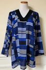 NWT MICHAEL KORS Royal Blue Black Striped Embellished Neck Tunic Top XS S $225