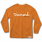 Diamond Supply Co. Men's OG Script FA18 Long Sleeve T Shirt Orange Clothing
