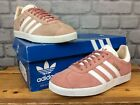 ADIDAS LADIES PINK WHITE GOLD SUEDE GAZELLE TRAINERS VARIOUS SIZES T