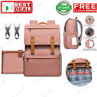 Diaper Bag Backpack Multi-Function Travel Backpack Changing Pad Stroller Pink