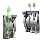Stainless Steel Toothpaste Dispenser+2/3 Toothbrush Holder Set Wall Mount Stand
