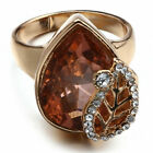 Wedding Leaf Ring Gold Sz6-10 Yellow Women Padparadscha Jewelry Chic Filled 18K