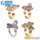 Yellow Gold Plated Three Multicolor Ring For Women Quartz Druzy Adjustable Size