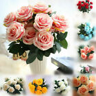 Large 10 Heads Silk Rose Artificial Flowers Fake Bouquet Buch Home Party Decor