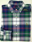 NWT $89 Polo Ralph Lauren LS Plaid Oxford Shirt Mens Blue Navy Green White Red