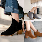 Women's Autumn Slip On Ankle Boots Ladies Chunky Block Heel Casual Shoes Size