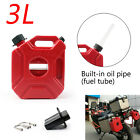 3L Motorcycle Jerry Cans Gas Red Diesel Fuel Tank For Car w/Lock+Mounting US
