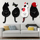 Creative Wall Clock Cat Dog Shape Wagging Tail Battery Operated Room Art Decor