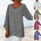 US Womens Striped V Neck Blouses Loose Baggy Tops Tunic T Shirts Plus Size