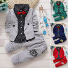 2pcs Toddler Kids Baby Boys Gentleman T-shirt Top+Pants Outfits Clothes Suit Set