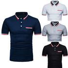 Men Polo Summer Golf Sport Shirt Slim Fit Short Sleeve T Shirt Top Blouse Lapel image