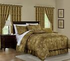 Lennox 7-Piece Gold Floral Jacquard Embroidered Comforter or 4pc Curtain Set image