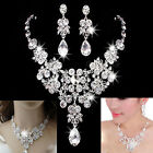 Uk Charm Bridal Wedding Prom Jewellery Rhinestone Crystal Necklace Earrings Set