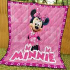 Disney Pink Minnie Mouse Blanket 60-102'' Washable Poly Cotton Preshrink Quilt image