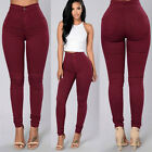 Women Skinny Pencil Pants High Waist Stretch Slim Solid Jegging Trousers Bottom